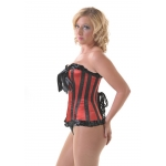 Candystripe Red and Black Satin Corset*